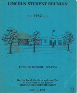 Blue paper front page of the 1982 Lincoln Student Reunion with line ink drawing of Lincoln School building with trees.