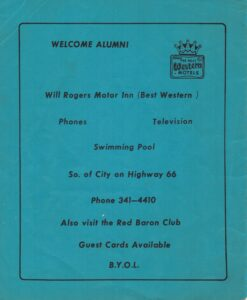 Back cover of 1982 Lincoln student reunion pamphlet with motel ad
