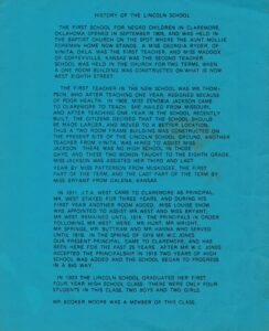Blue inside cover of 1982 Lincoln Student Reunion program with text.