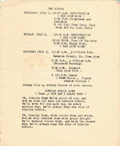 Pamphlet page detailing agenda and school song.