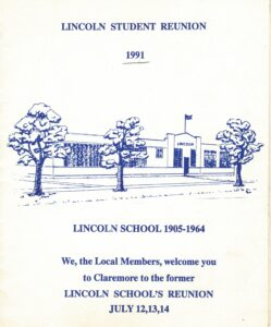 Front page of the 1991 Lincoln student reunion pamphlet with details and blue ink drawing of Lincoln school building with trees.