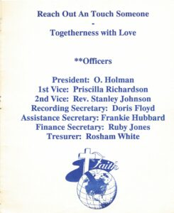 Back inside cover of 1991 Lincoln studend reunion pamphlet detailing reunion theme & officers.