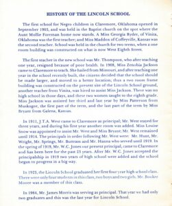 Inside cover of the 1991 Lincoln student reunion detailing school history