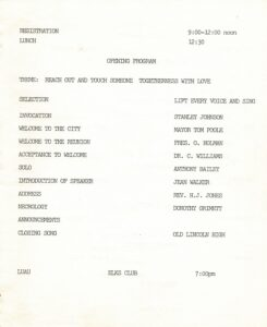 First page of 1991 Lincoln student reunion pamphlet with program text