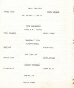 Second page of the 1991 Lincoln student reunion pamphlet detailing committees and members.