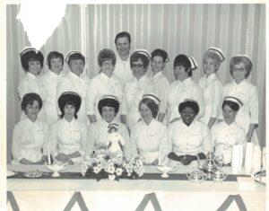1974 Northeast Tech graduating class of LPN nurses with first Black graduate