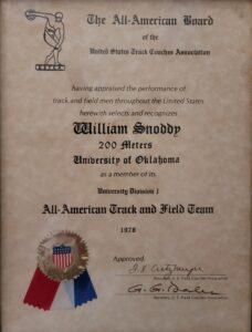 William Snoddy 1970 200 Metres award