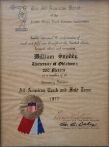 William Snoddy 1977 200 metre award