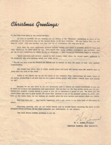 Christmas letter to Claremore Boys in the Armed Service from W.C. Jones
