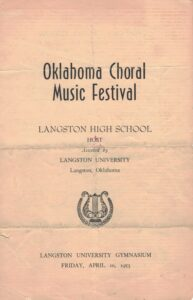 Front page of 1953 Oklahoma Choral Music Festival