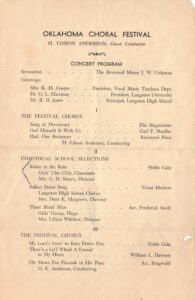 Second page of the 1953 Oklahoma Choral Festival program featuring the Girls' Glee Club.
