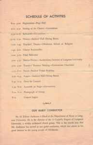 Back page of the Oklahoma Music festival program.