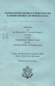 Front cover of the program pamphlet for the induction of Judge Darnell Jones to the Eastern District Court of Pennsylvania.