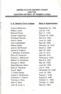 Eleventh page of the Jones program pamphlet with list of U.S. District Court judges and dates of appointment.