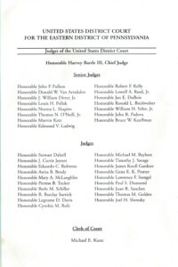 Fourth page of the Jones program pamphlet with list of judges.