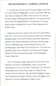 Sixth page of the Jones program pamphlet with biography text.