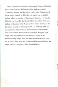 Eighth page of the Jones program pamphlet with paragraph of biographical text.