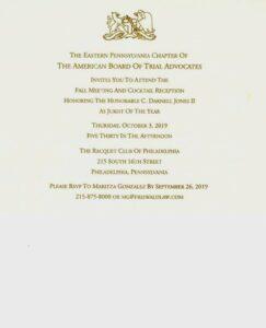 Invitation to celebration of Judge Jones, Eastern Pennsylvania American Board of Trial Advocates Jurist of the Year.