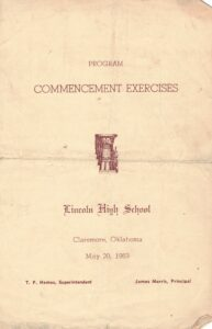Front page of the 1953 Lincoln commencement program
