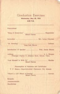 Third page of the 1953 Lincoln commmencement program detailing the order of events for the graduation exercises.