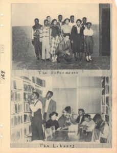"""Group photograph labled """"The Sophomores"""" over a picture of a group of students reading at a table in a library with two male students looking at books on a bookshelf, captioned """"The Library"""""""