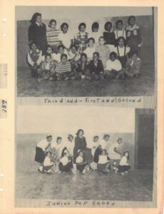 Group photo of young elementary students above group photograph of young girls with captions