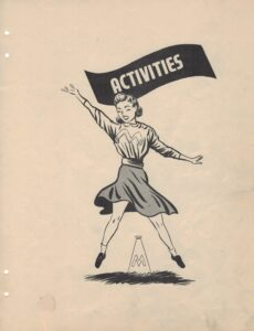 """Graphic of a vintage-style cheerleader jumping under header """"Activities"""""""