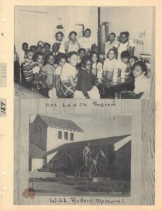 Image of a group of children around lunchroom table above image of man on horse statue in front of building with captions