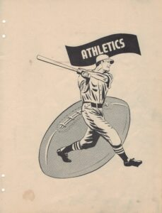 """Graphic of a man in a baseball uniform swinging a baseball bat in front of a graphic of a football under the header """"Athletics"""""""