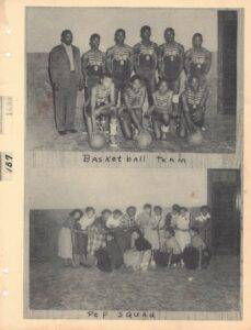 Group photograph of young men in basketball uniforms with basketballs above image of group of women with captions