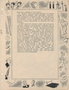 Second page of the Lincoln School yearbook with school activities border and text