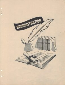 """Graphic of open book with a scroll on top in front of set of books and ink pot with quill under the word """"Administration"""""""