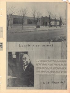 Black and white photo of building, Lincoln High School, and man in suit, W.C. Jones, Our Principal with text box.