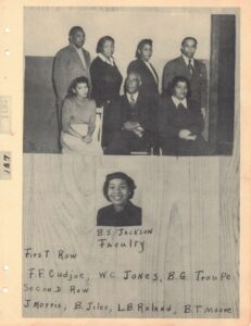 Group of people, four standing and three sitting, and headshot of woman