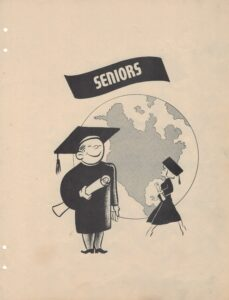 """Graphic of man and woman in graduation regalia in front of world, under header """"Seniors"""""""