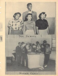 """Group of three women and one man over the caption """"The Seniors"""" and photograph of a group of students around a lab table using lab equipments labled """"Science Class"""""""