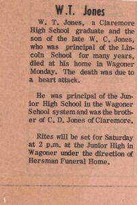 W.T. Jones Obituary