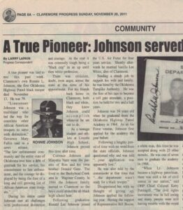 Four columns of article text with picture of Black highway patrolman in uniform under article title and newspaper header.