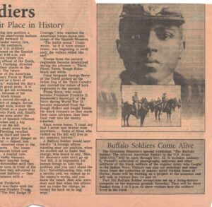 Two columns of article text with layered images of Black soldier and calvary regiment to left above special exhibition announcement