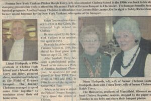 Article excerpt framed by picture of man on left and two women on right