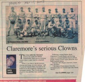 Photo of Black baseball team, the Claremore Clowns, and article text with handwritten newspaper title and date