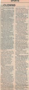 Two columns of text about Claremore Clowns baseball team