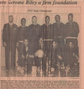 """Photo of Black basketball team labeled """"1952 State Champions"""" with article title and caption"""