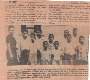 Picture of Black woman with a group of children with caption below and article text above.