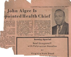 Damaged clipping about Dr. John Algee with newspaper header, picture, article title, and add.
