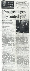 Black History Month article with title, subtitle, byline, two columns of text and accompanying photograph